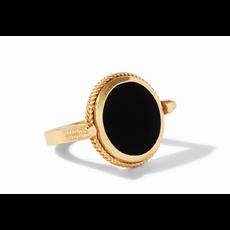 Julie Vos Julie Vos Coin Revolving Ring Gold Obsidian Black - Size 7