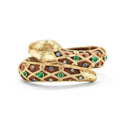 Capucine De Wulf Serpentina Hinged Bangle Jeweled Teak Earth Goddess