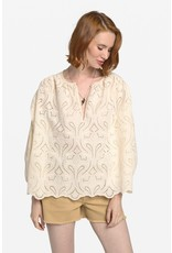 Ottod'Ame Embroidered Cotton Flared Blouse - DC4496