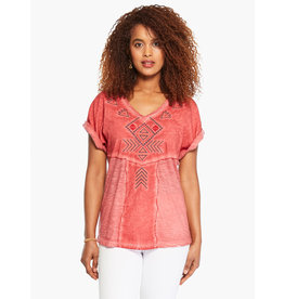 Nic+Zoe Embroidered Tee - Flame