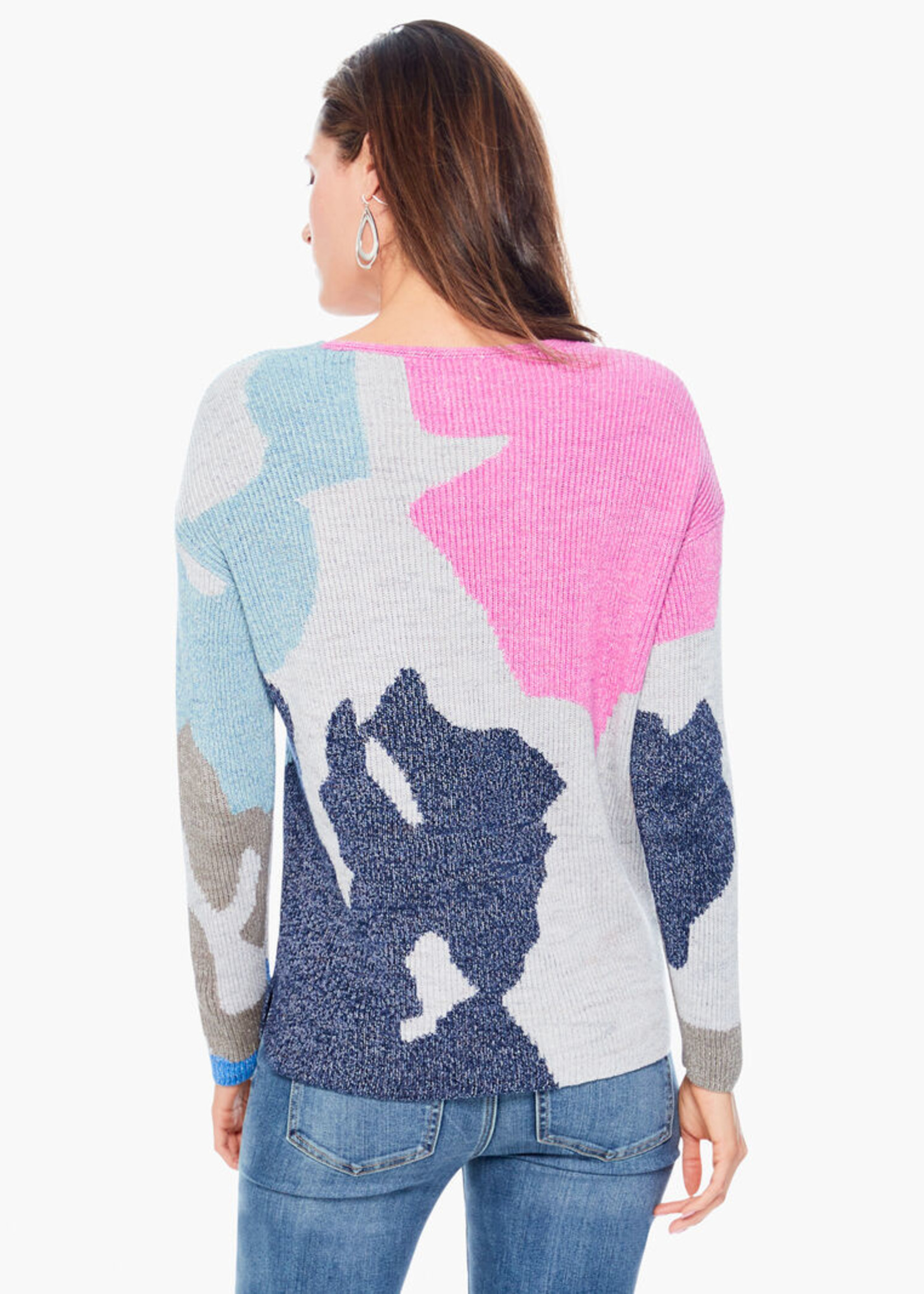 Nic+Zoe Puzzle Time Sweater - Blue Multi
