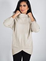 Mock Neck High Low Sweater - Oatmeal