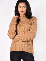 Mock Neck Cable Sweater - Caramel