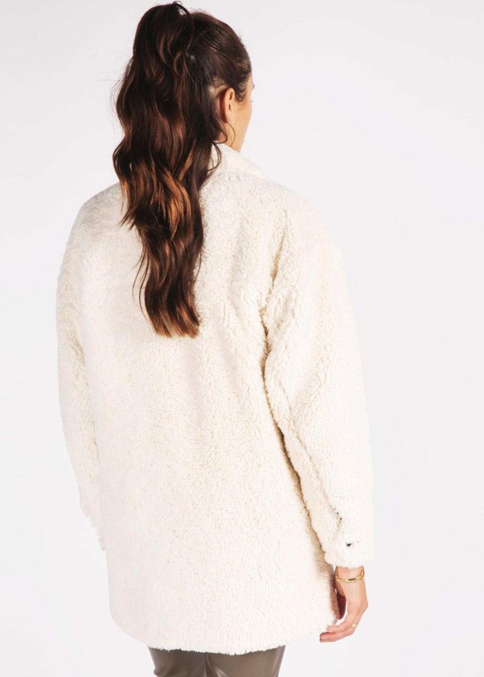 EsQualo Ivory Short Teddy Coat