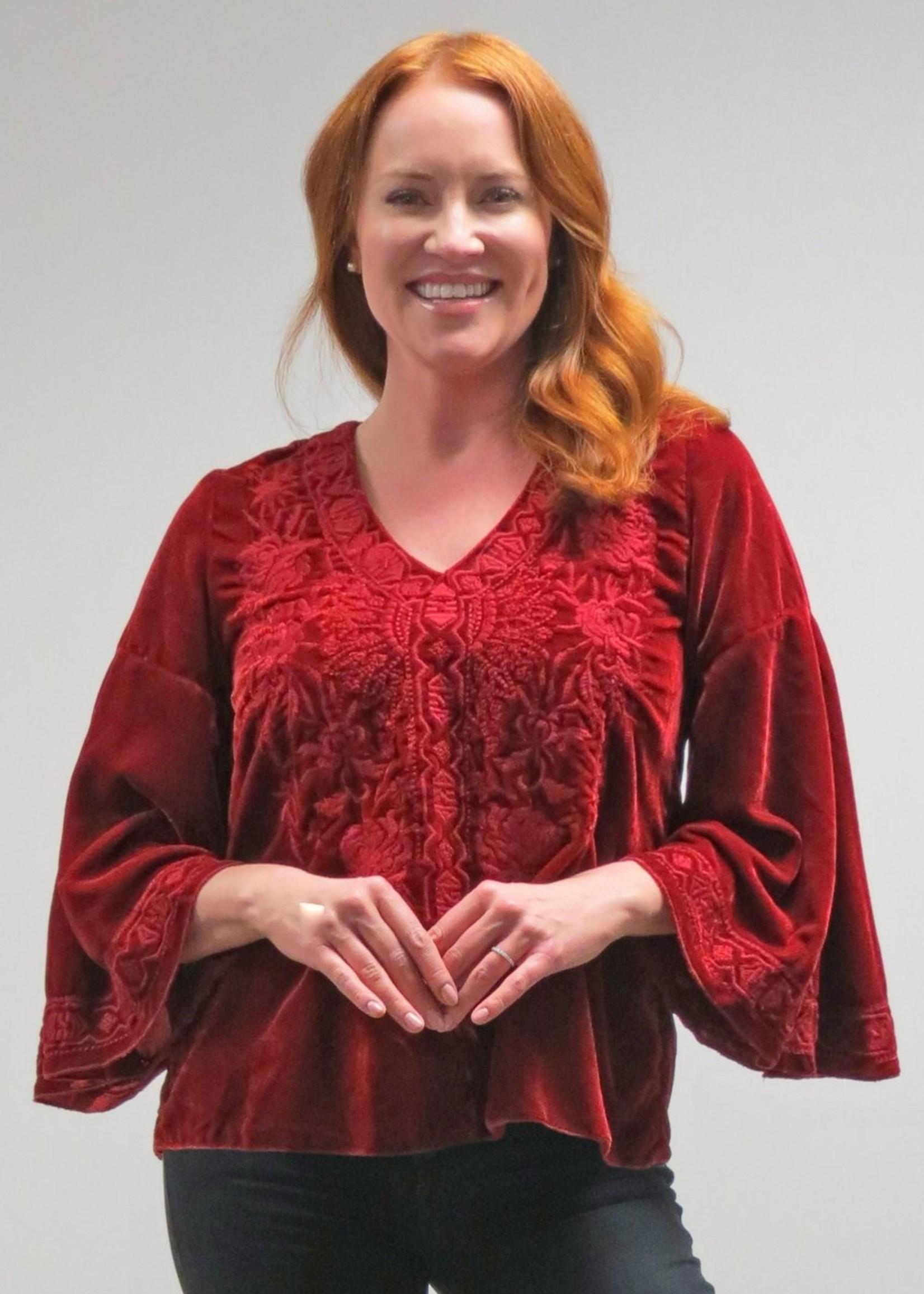 Carmen Blouse - Red Dahlia