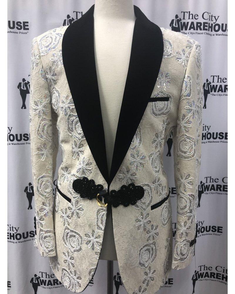 Floral Stone Blazer w/Frog Button & Bow Tie