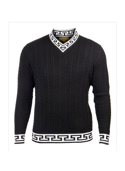 Greek Key V-Neck Sweater