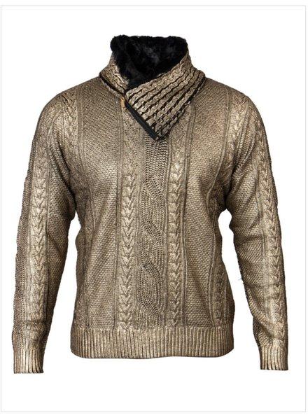 Fur Collar Coated Sweater