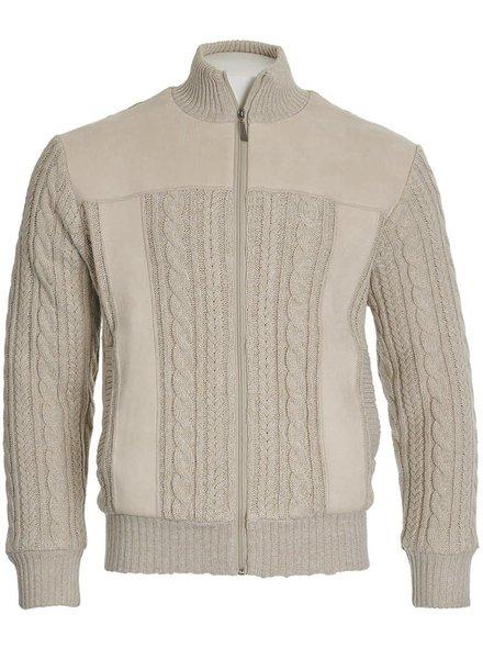 Knit & Suede Full Zip Sweater