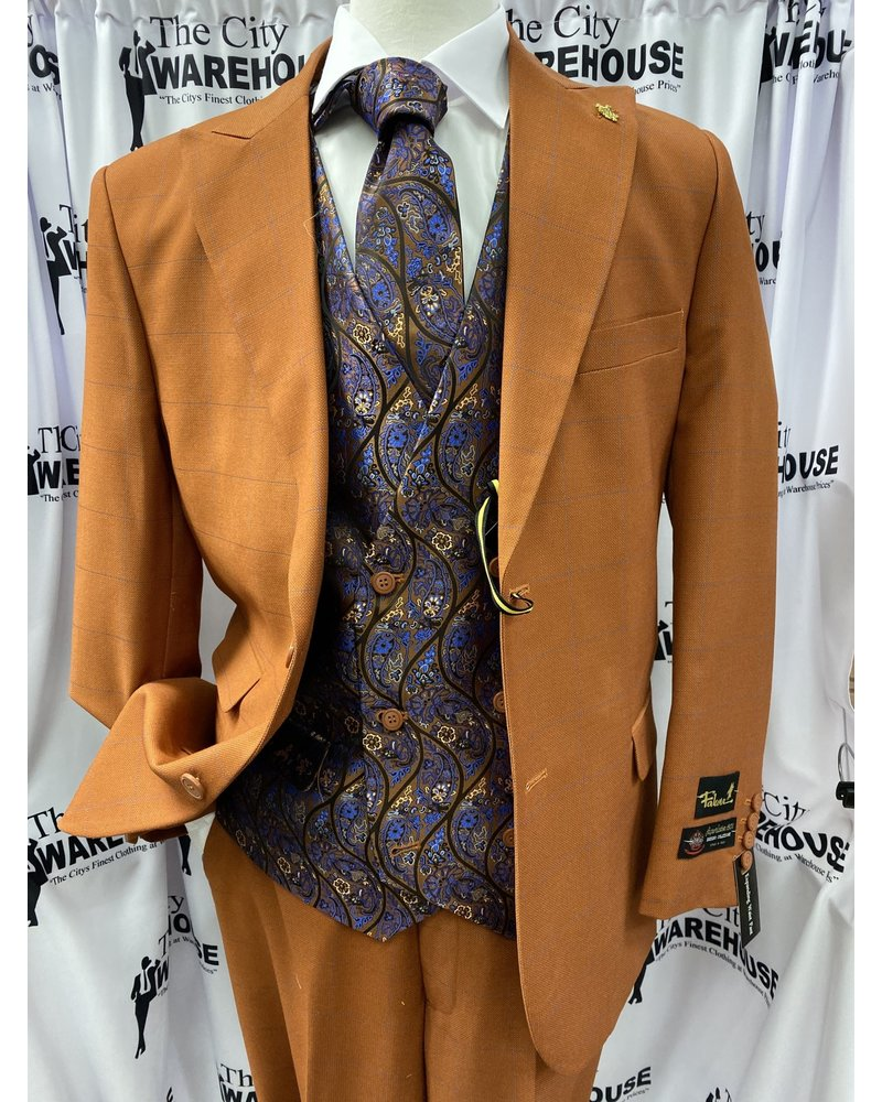 Falcone Window Pane Suit W/Contrast Vest