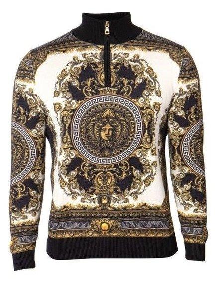 Velvet Half Zip Printed Mock Sweater