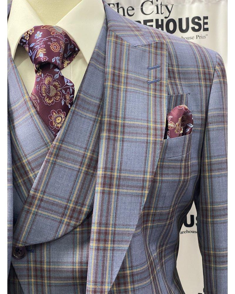 Tiglio One Button Plaid Vested Suit