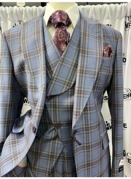 Tiglio One Button Plaid Vested Suit