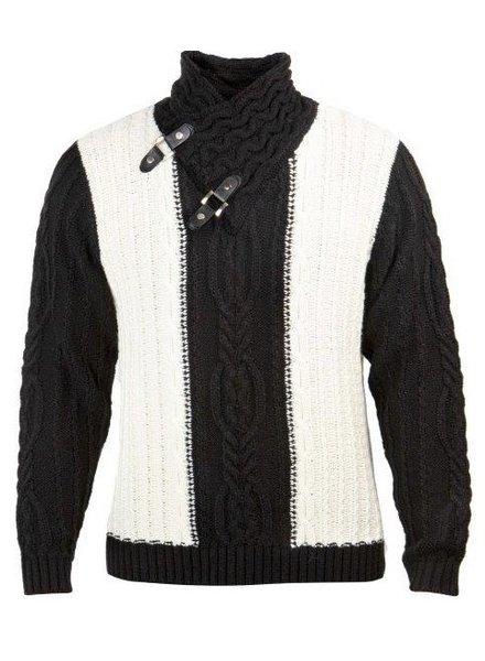 Prestige Fur Collar Cable Sweater