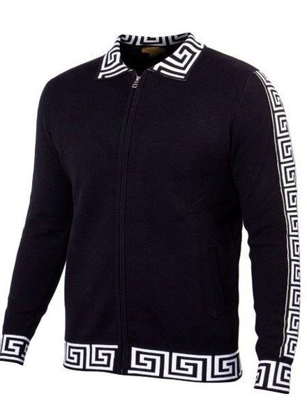 Prestige Full Zip Sweater W/Greek Key Collar