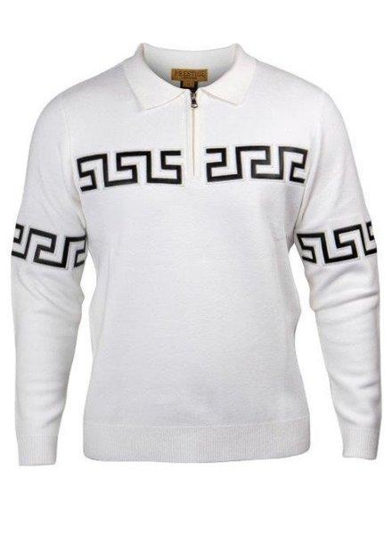 Prestige Zip Polo Sweater W/Greek Key Chest
