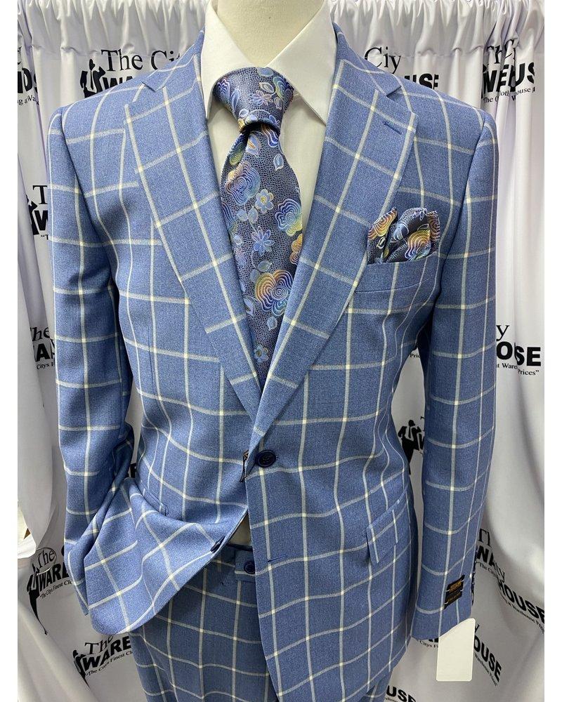Steven Land  Window Pane Gaberdine Suit