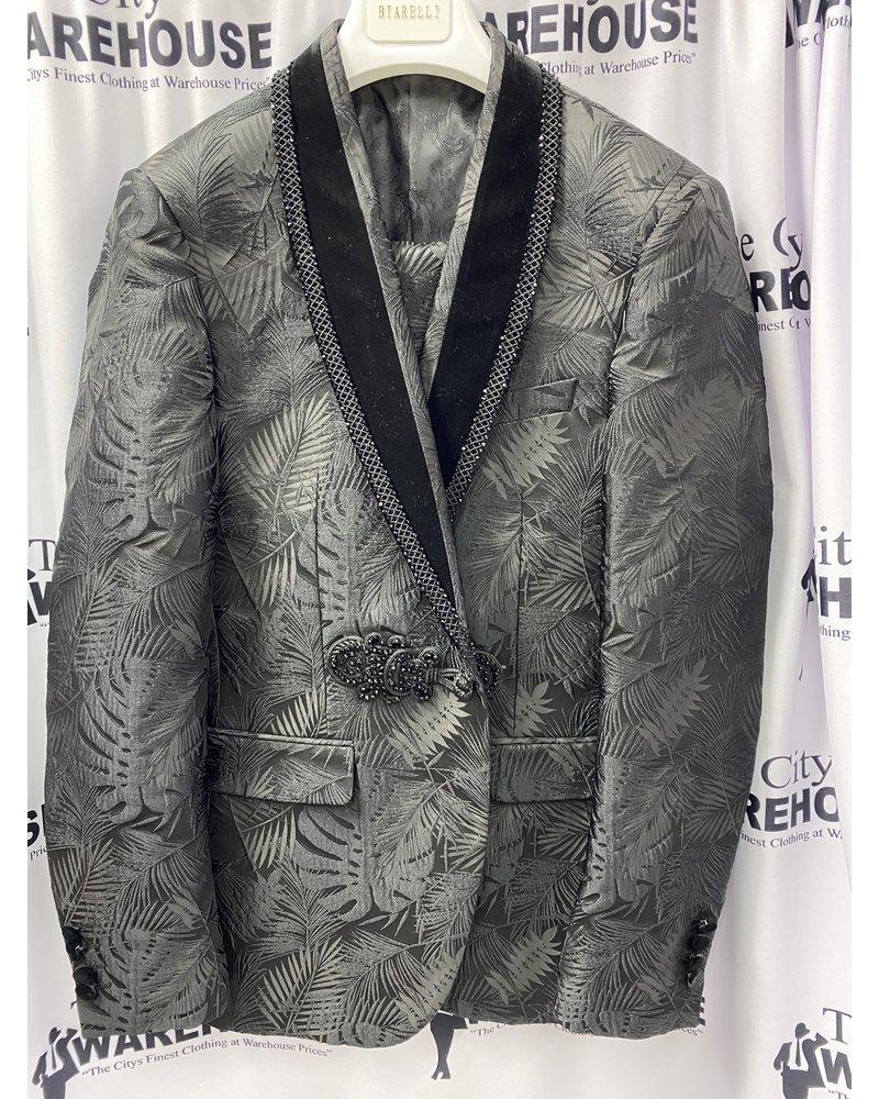 Biarelli Velvet Shawl Lapel Floral Suit