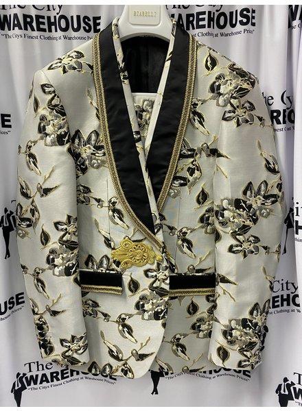 Biarelli Satin Lace Shawl Floral Suit