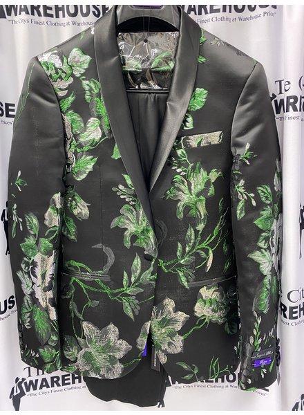 Floral Blazer W/Satin Lapel & Slack