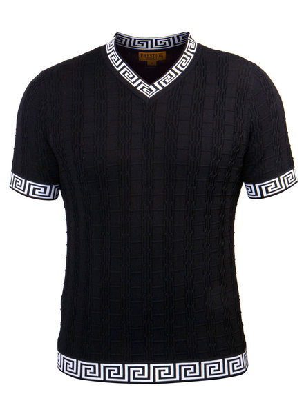 Prestige S/S Greek Key Ribbed Vneck