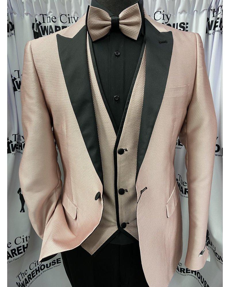 Peak Lapel Pin Dot Vested Suit