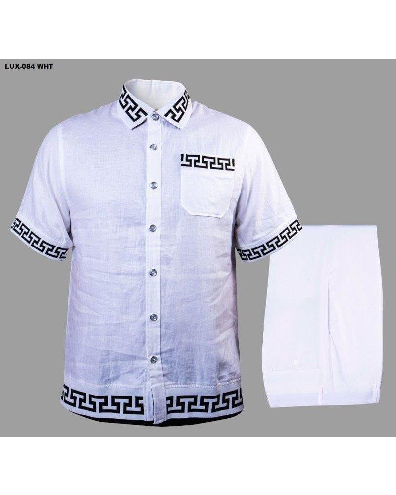 Prestige Linen Set With Knit Greek Key