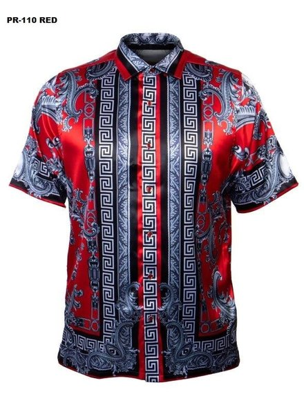 Prestige S/S Greek Print Satin Shirt