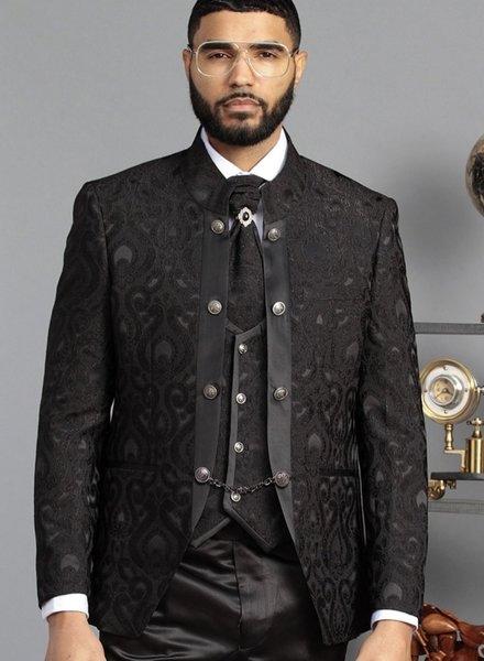 Manzini Lazio Floral Lace Vested Suit W/Bow Tie