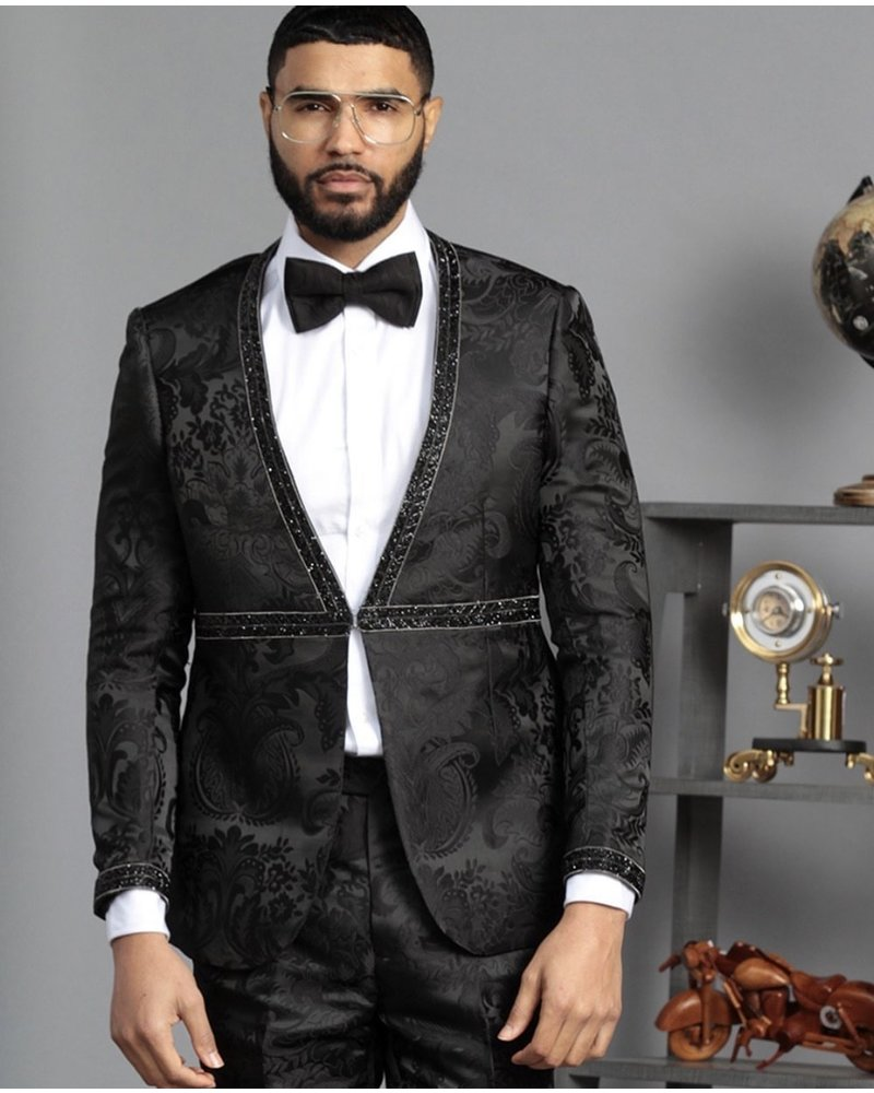 Manzini Athnes Fancy Vested Suit W/Stone Trim