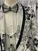Manzini Bari Floral Vested Suit W/Bow Tie