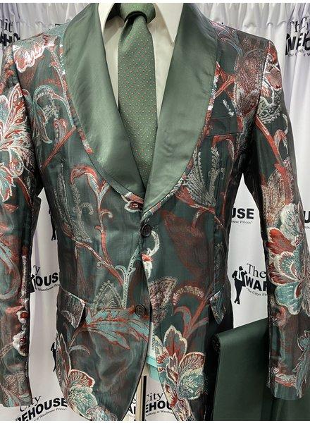 Shawl Lapel Floral Metallic Blazer