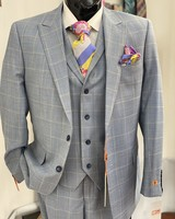 Steven Land 2B Vested Window Paine Suit