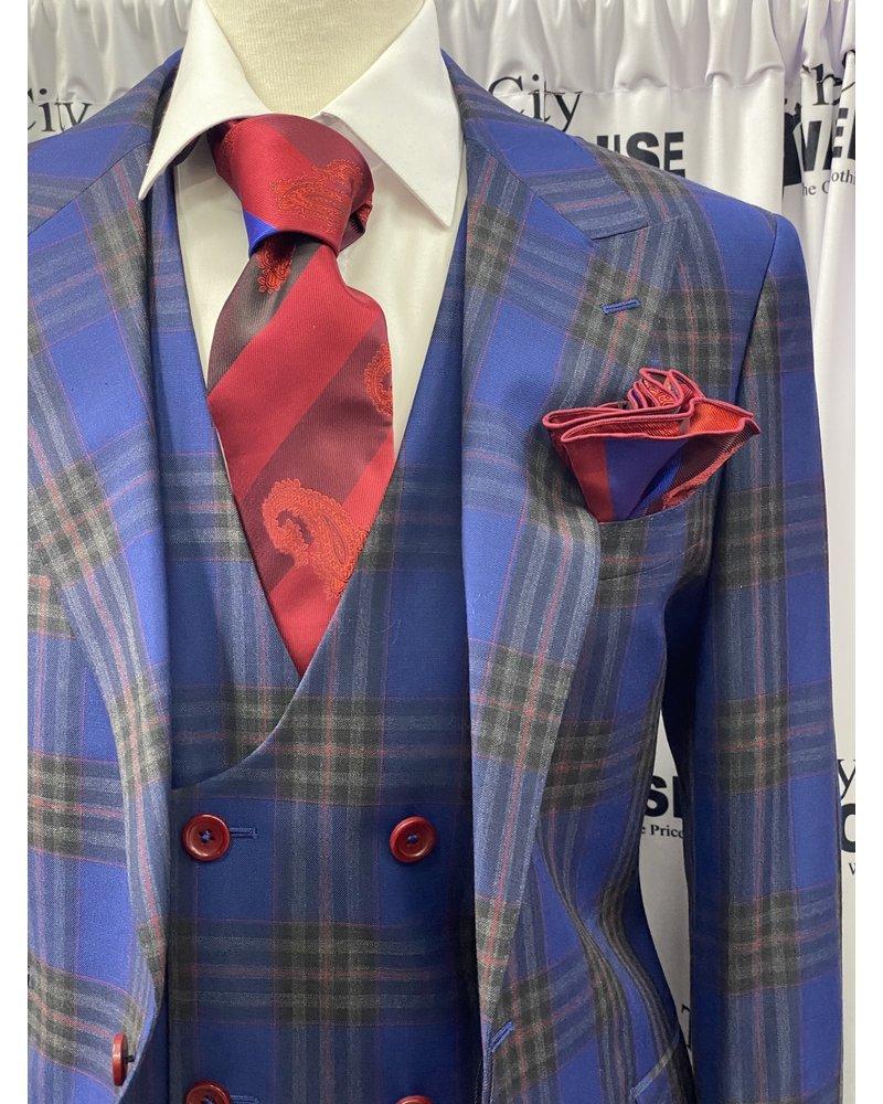 Tiglio Prosecco Window Pane Vested Suit