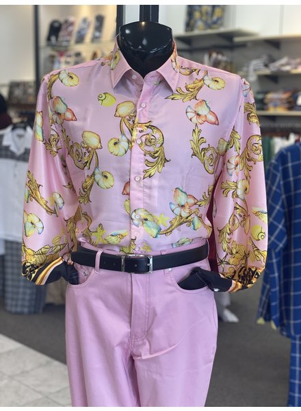 Cigar L/S Floral Satin Shirt