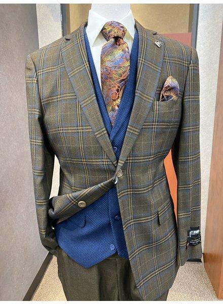 Falcone 2B Plaid Compose Vested Suit