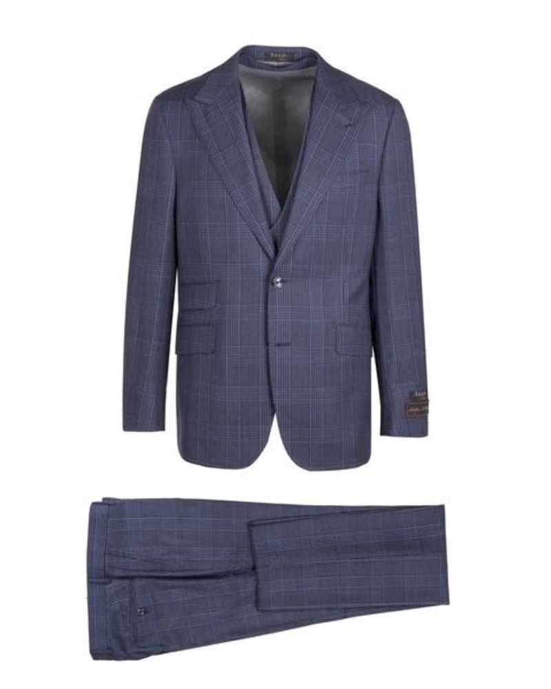 Tiglio Lux Vested Wool Gaberdine Plaid Suit