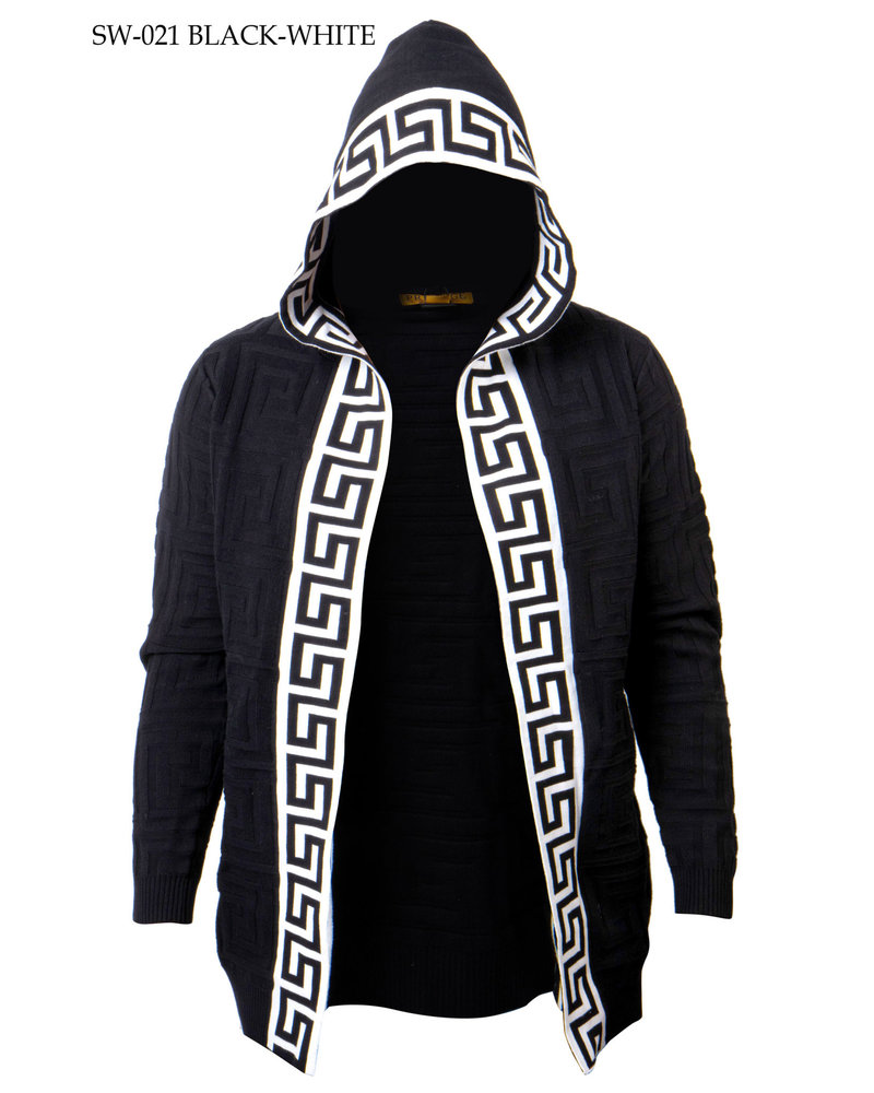 Prestige L/S Hooded Cardigan Sweater W/Greek Key