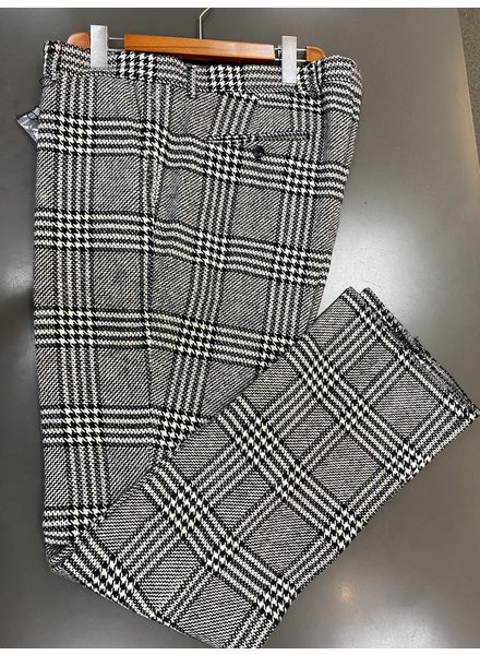 Flat Front Hounstooth Plaid Slacks