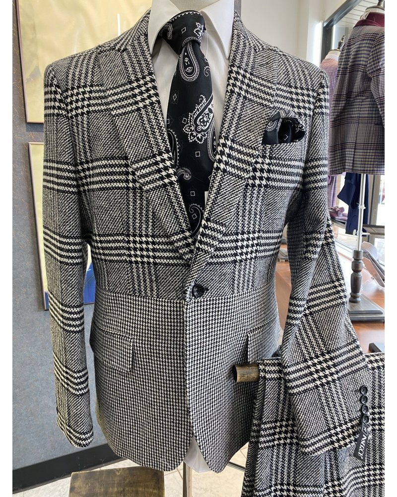 1 Button Houndstooth Plaid Blazer