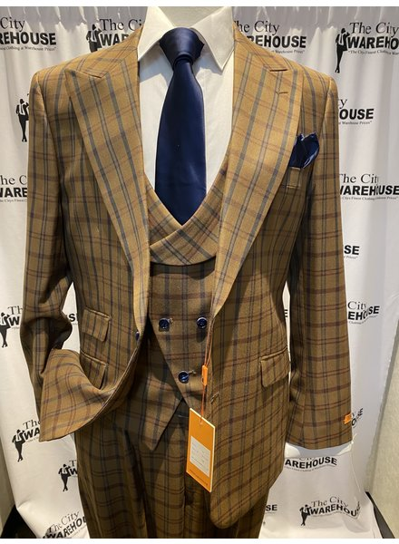 Steven Land Plaid Vested Suit