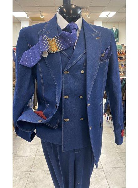 Denim Pic Stich Vested Suit