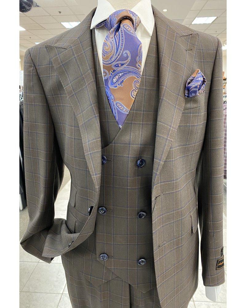 Tiglio Lux Vested Wool Gaberdine Check Suit