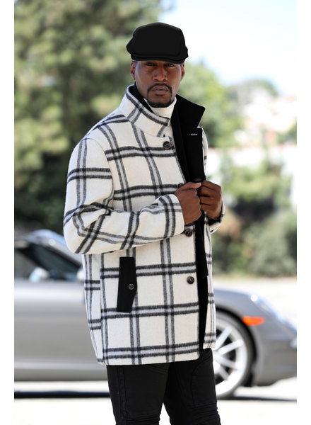 Manzini Fancy Wool Blend Jacket W/Hat