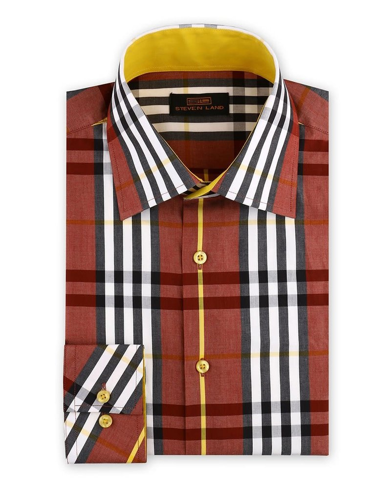Steven Land British Plaid Dress Shirt