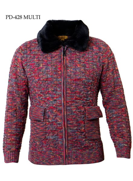 Prestige Full Zip Cable Knit W/Fur Collar