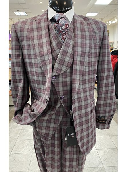 Tiglio Rosso Plaid Vested Suit (new rosso)