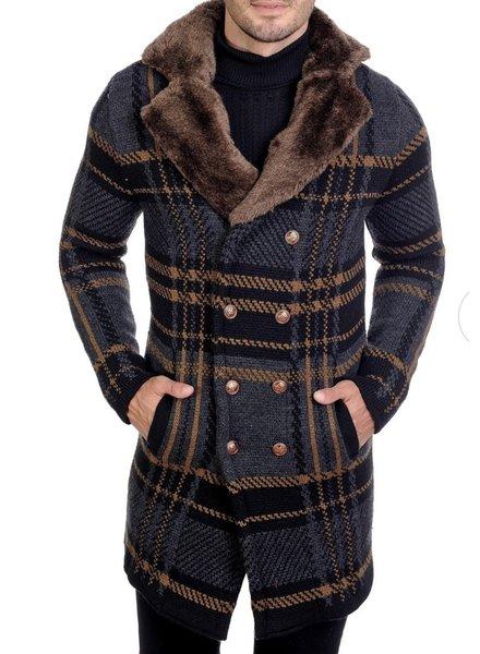 Black Edition Window Pane Cardigan W/Fur Collar