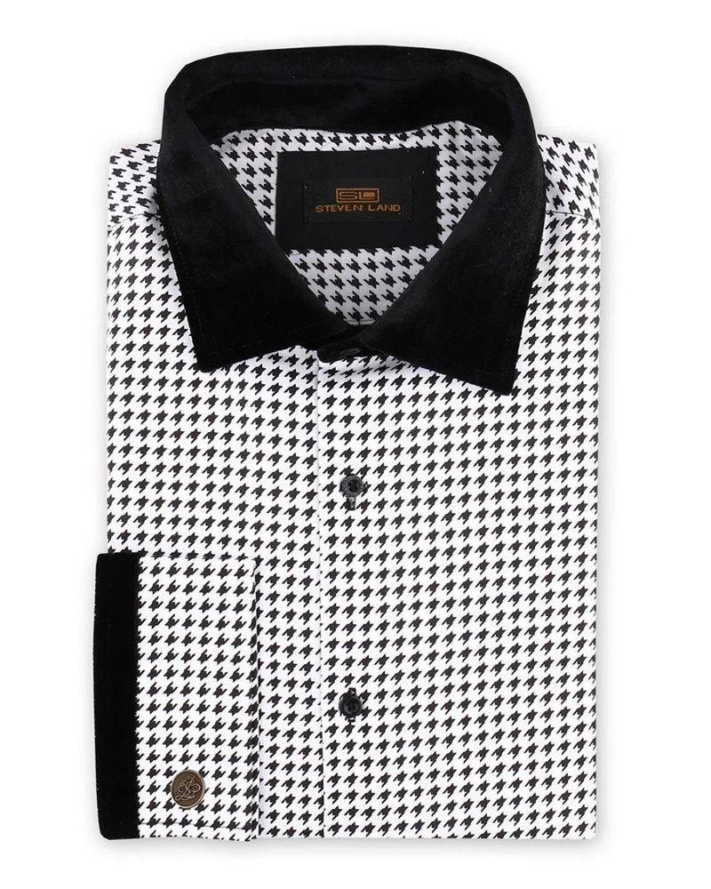 Steven Land Houndsthooth Velvet Dress Shirt W/Bow Tie