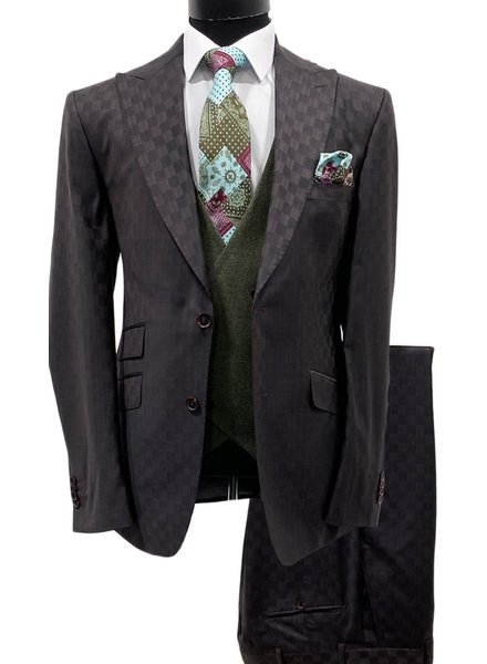 Tayion Check Vested Compose Suit